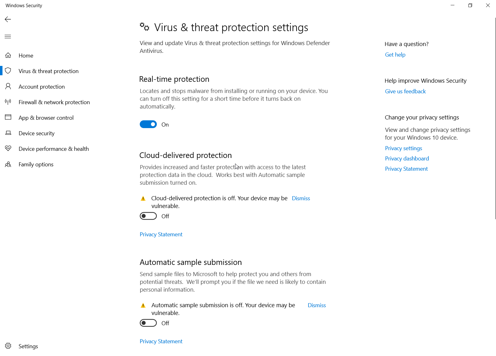 Windows Defender lab settings